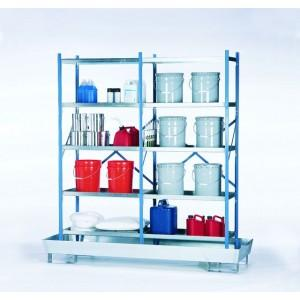 Containment Shelving with Sump Base - 72x24 - Grated Shelving - Galvanized