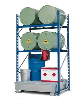 Drum Rack with Spill Sump - 2 Drum Horizontal - 4 Drum Vertical - 2 Levels-w280px