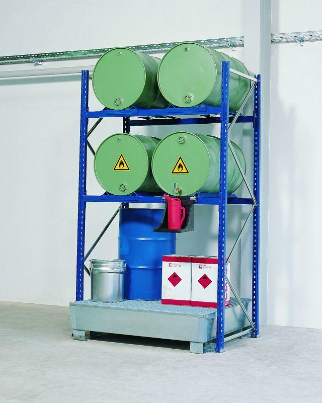 Drum Rack with Spill Sump - 4 Drum Horizontal - 4 Drum Vertical - 3 Levels