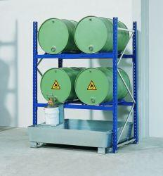 Drum Rack with Spill Sump - 6 Drum Horizontal - 2 Levels