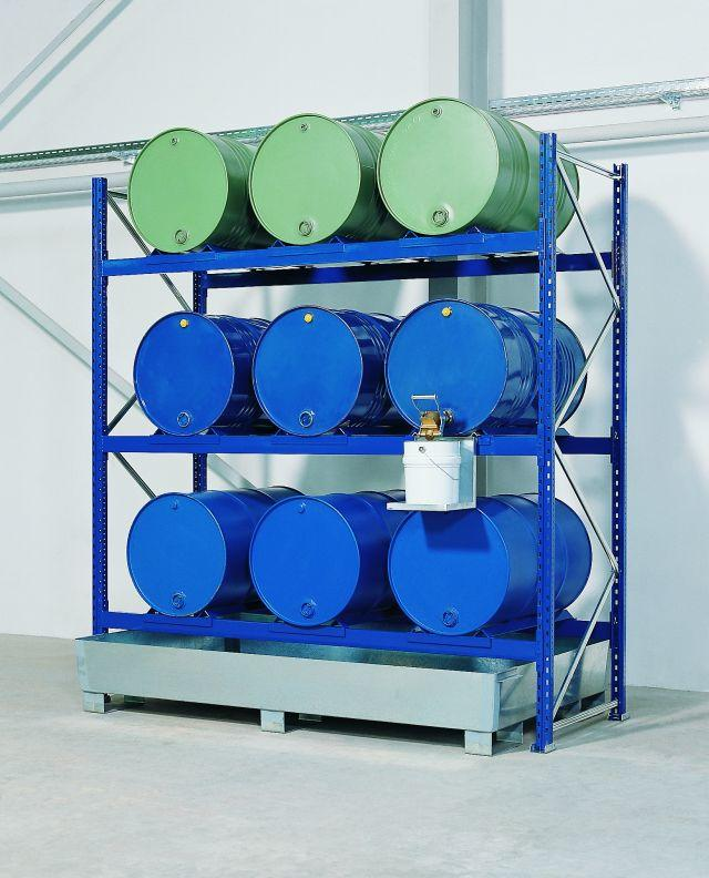 Drum Rack with Spill Sump - 9 Drum Horizontal - 3 Levels