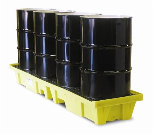 Four Drum Low-Profile In-Line Poly-SpillPallet - with Drain