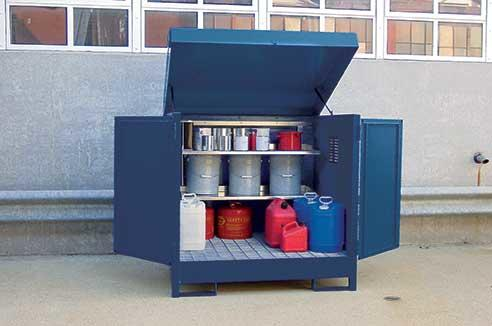 HazMat Station - 4 Drum w/ Full Width Shelf Package/Adder