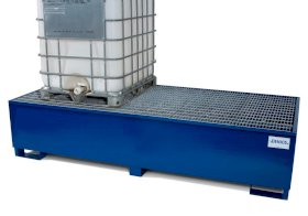 IBC Spill Containment Pallet - Double 500-Gallon IBC Tote - Painted Steel - Removable Grating-w280px