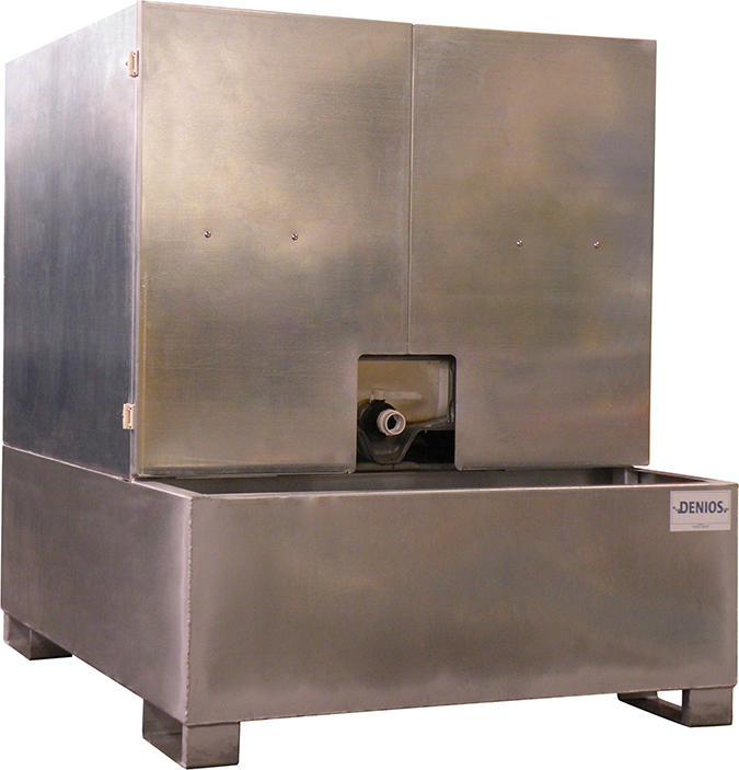 IBC Tote Sump Enclosed w/ Access - Galvanized
