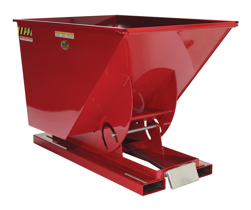 Medium-Duty, Self-Dumping Hopper - 1 cu yard - 4K - Red - 1