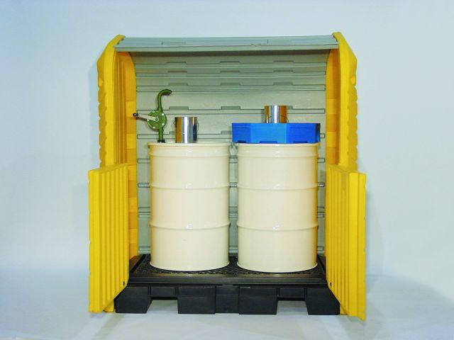 Poly Indoor/Outdoor HazMat Station - 2 Drum Depot