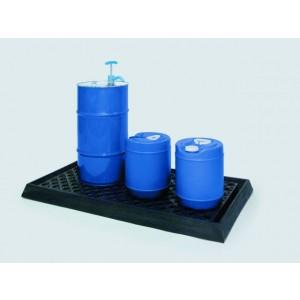 Poly Lab Spill Tray - Low Profile w/grating (Black)