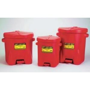 Poly Oily Waste Can - 14-Gallon Poly (Red)