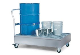 Spill Cart - 2 Drum Capacity - Galvanized Steel Construction - Removable Grating - Secure Storage-w280px