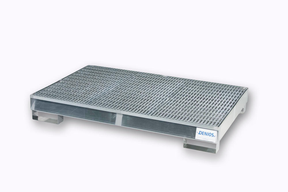 Spill Pallet - Galvanized Steel 6 Drum - w/ Grating