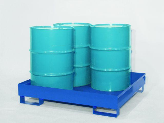 Spill Pallet - Painted Steel 4 Drum - No Grating
