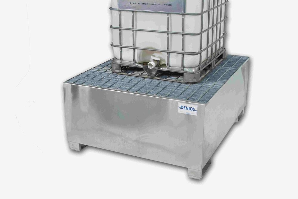 Spill Sump - Galvanized Steel 350 Gal - IBC Dispensing Platform + Full Grating
