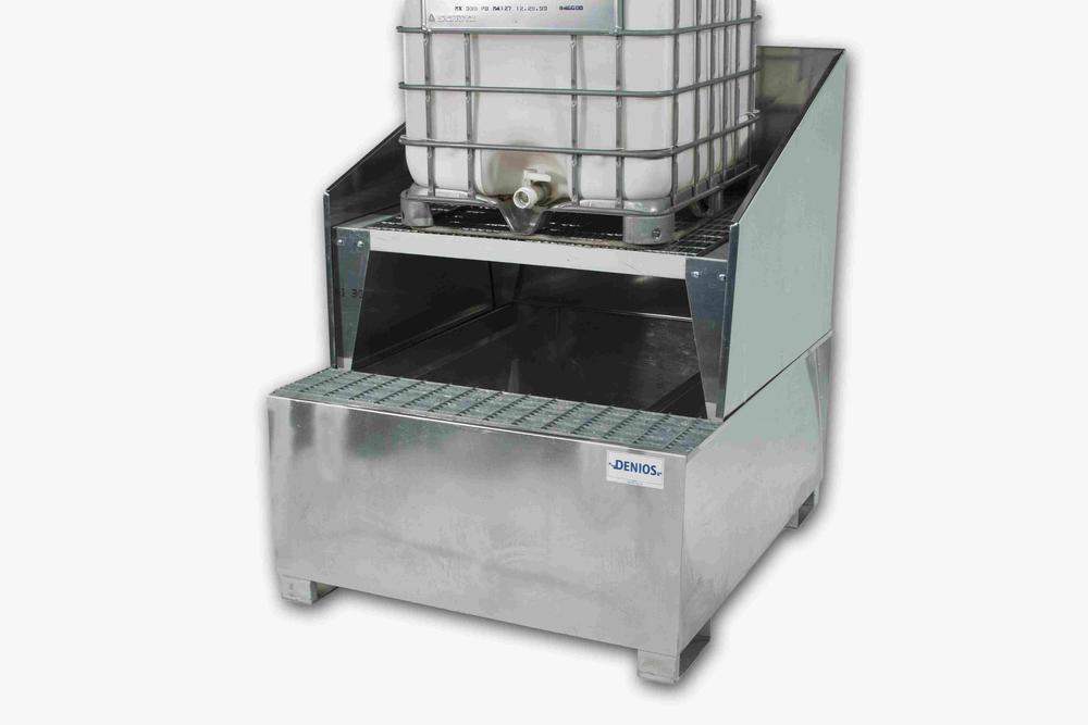 Spill Sump - Galvanized Steel 350 Gal - IBC Dispensing Platform + Stand + Splash Guard