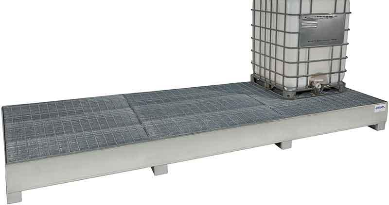 Spill Sump - Galvanized Steel 350 - IBC Dispensing - Platform Only + Full Grating - 1