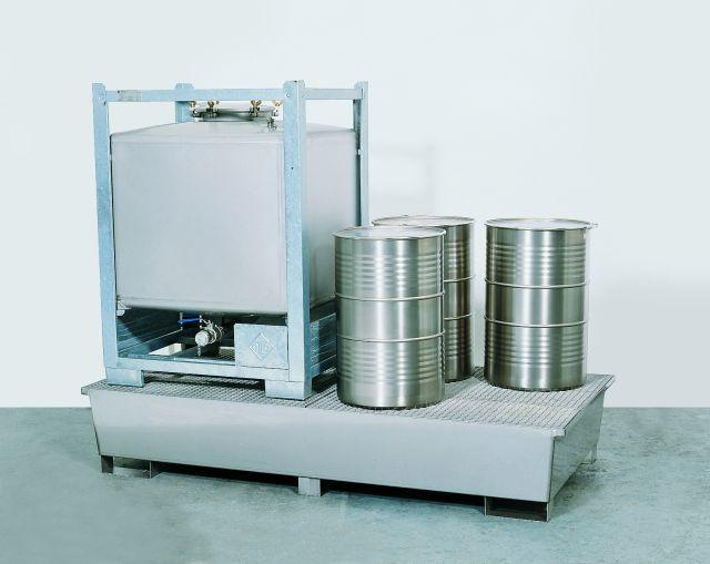 Spill Sump - Stainless Steel 350 Gal IBC - Double IBC Sump - Stainless Steel grating