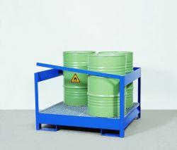 Transport Pallet - Painted Steel 2 Drum - Side Rails