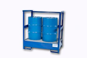 Transport Pallet - Painted Steel 2 Drum - Stackable - Side Rails-w280px