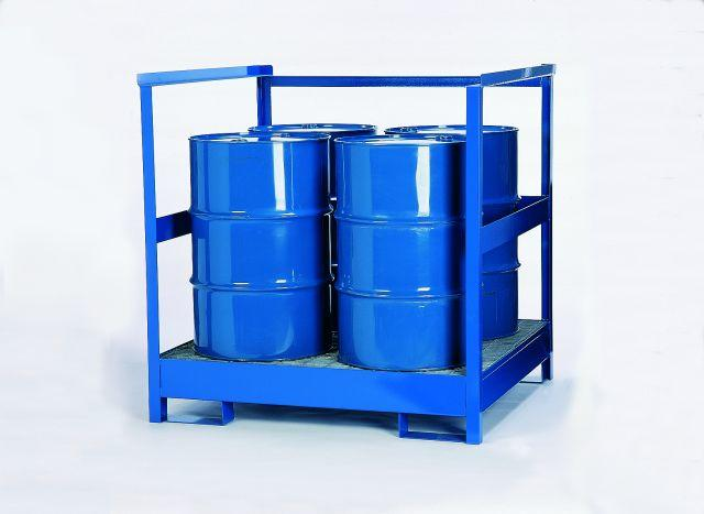 Transport Pallet - Painted Steel 4 Drum - Stackable - Side Rails