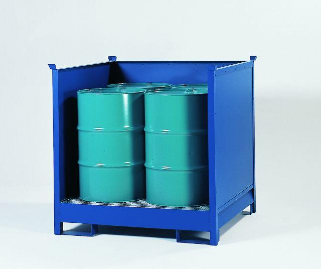 Transport Pallet - Painted Steel 4 Drum - Stackable - Side Walls
