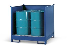 Transport Pallet - Painted Steel 4 Drum - Stackable - Side Walls-w280px