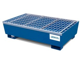 Base Line Spill Pallet - 2 Drum Capacity - Removable Grating - Forklift Access - Painted Steel-w280px