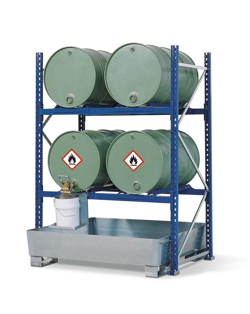 Drum Rack with Spill Sump - 4 Drum Horizontal - 2 Levels