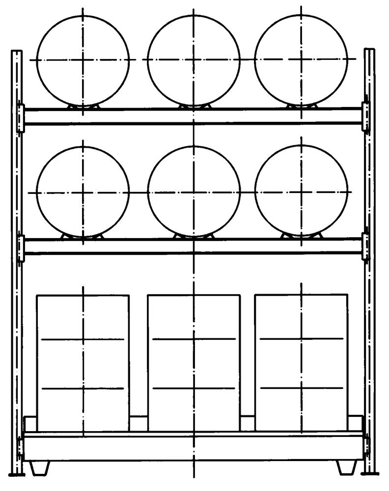Drum Rack with Spill Sump - 6 Drum Horizontal - 6 Drum Vertical - 3 Levels
