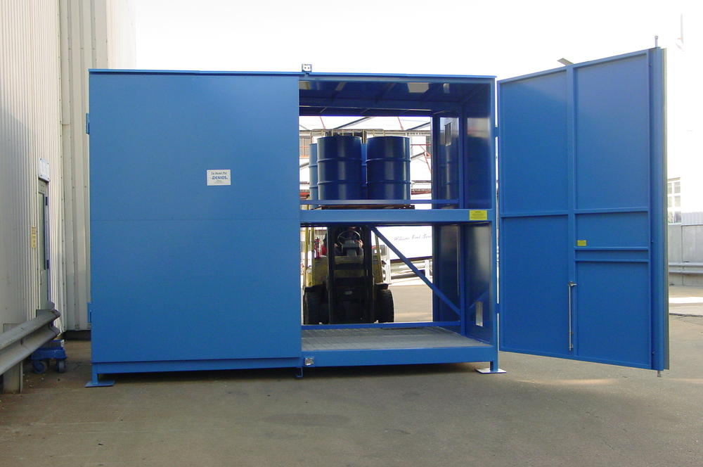 Non-Occupancy Storage Building - Non-Combustible - 32 Drum - Double-Sided - 2 Tier - Hinged Door