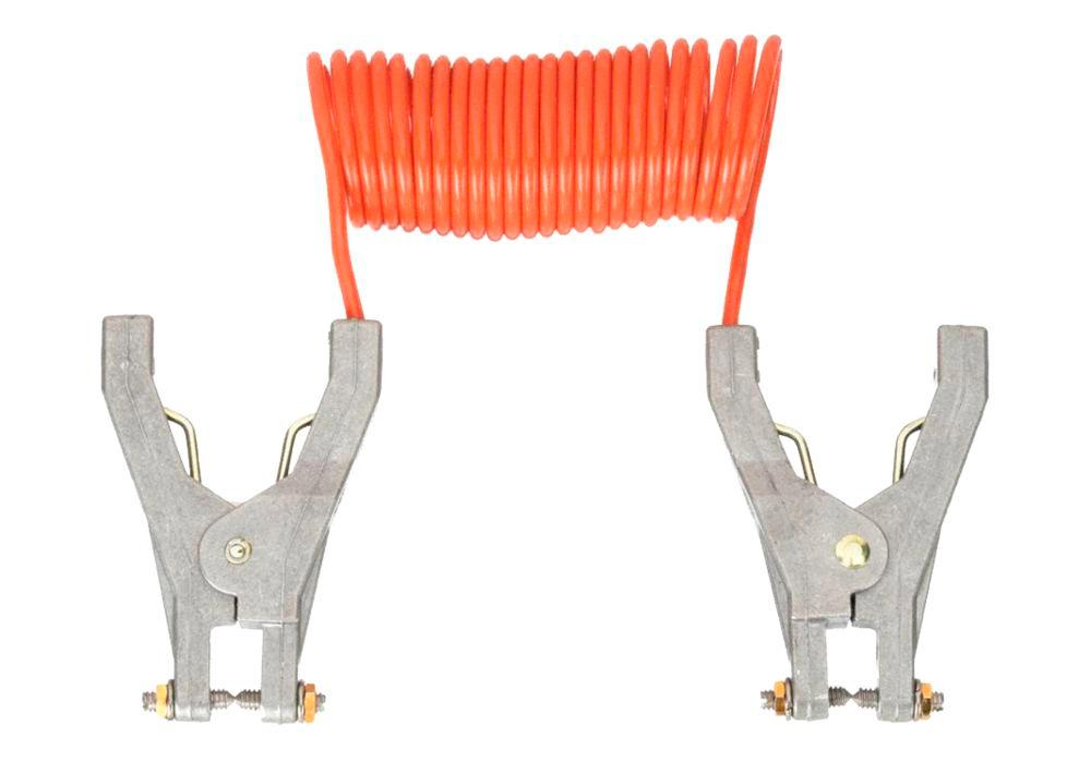 Retracting Grounding & Bonding Cable Coil - 10-foot Length - Includes 2 FM Approved Hand Clamps