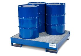 Spill Containment Pallet - 4 Drum Capacity - Removable Galvanized Grating -Painted Steel-w280px