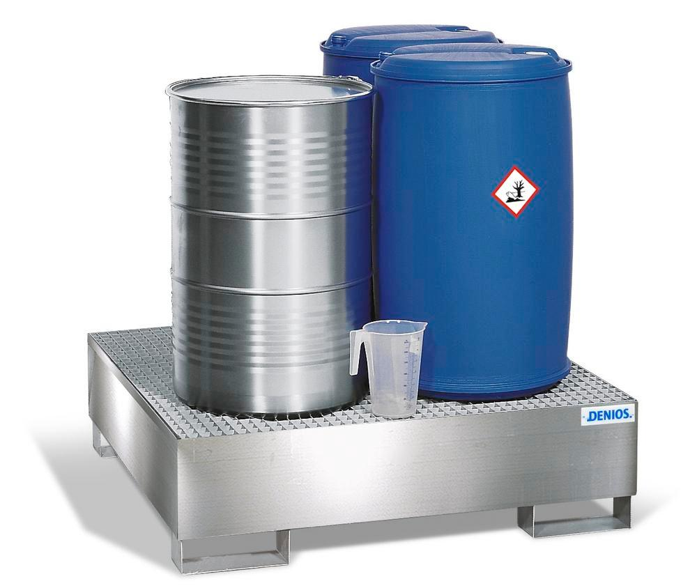 Spill Pallet - Stainless Steel 4 Drum - Stainless Steel Grating