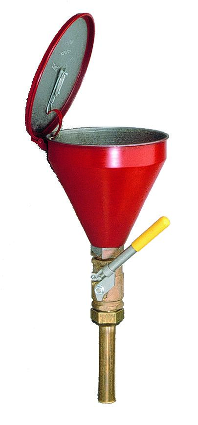 """Flammable Waste Liquid Drum Funnel - Funnel w/ Check Valve - 6"""" Perforated Metal"""