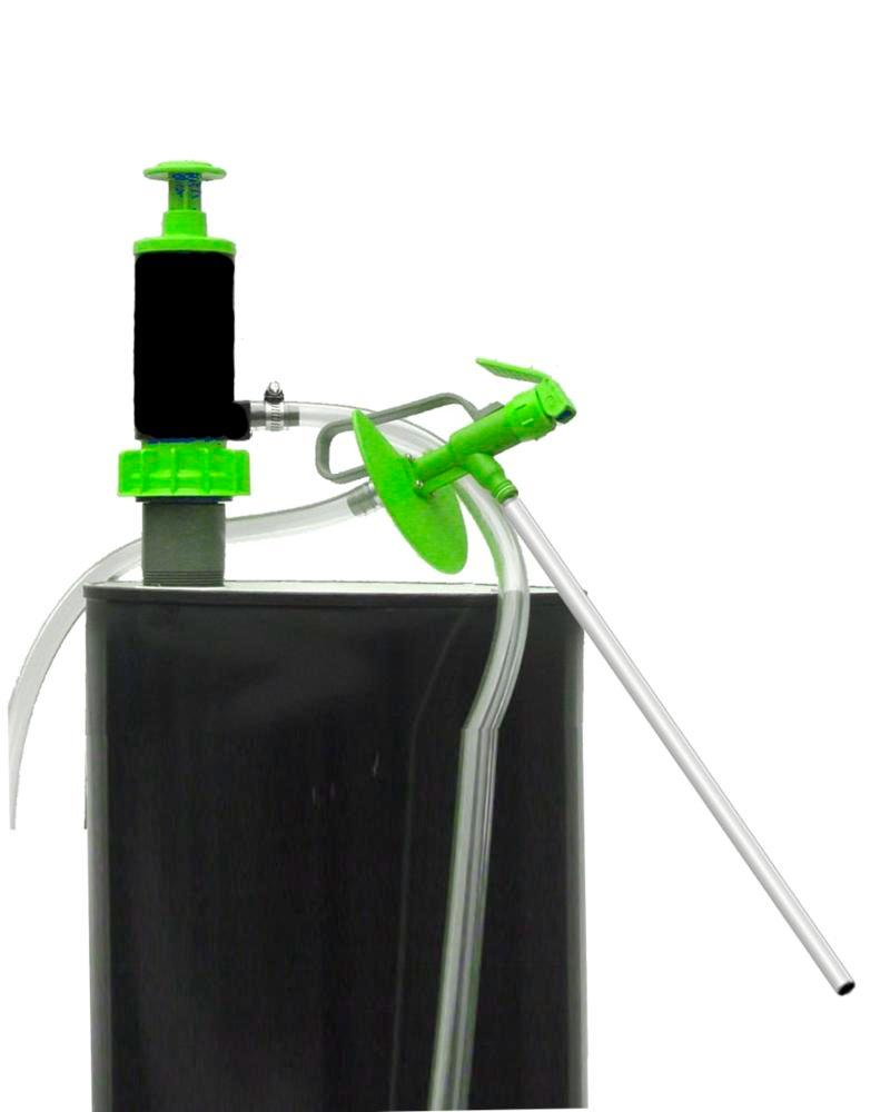 Green Viton Hand Pump for Drums & Pails - Remote Nozzle & 4' Nylon Tubing