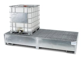 IBC Spill Containment Pallet - 2, 500-Gallon IBC Tote Capacity - Galvanized Steel Construction-w280px