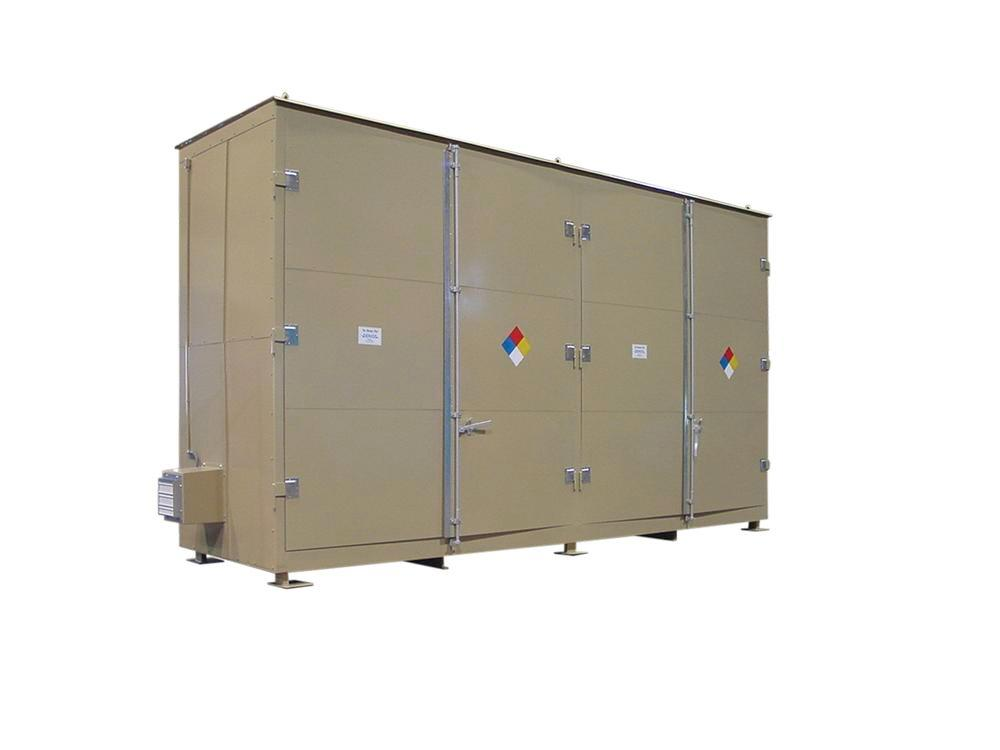 Non-Combustible Building - 90 mph Wind Rating - 20 Drum - Hinged Door - 2 Tiers