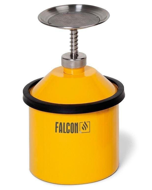 Plunger Can - 2-Liter - Steel - FALCON - Powder-Coated Yellow - Integrated Flame Arrestor