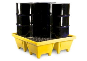 Poly Safe Spill Pallet - 4 Drum - Poly Grating - with Drain - Forklift Access - Yellow - 5001-YE-D-w280px