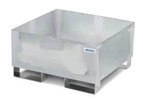 Spill Containment Pallet - 1 Drum Capacity - No Grating - Forklift Access - Galvanized Steel-w280px
