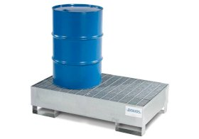 Spill Containment Pallet - 2 Drum Capacity - Removable Grating - Forklift Access - Galvanized Steel-w280px