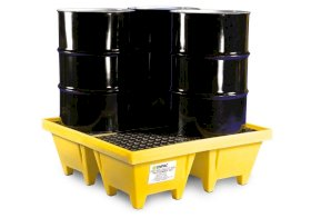 Spill Containment Pallet - 4 Drum Capacity - Poly Construction for Acid Storage - Yellow-w280px
