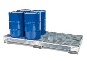 Spill Containment Pallet - 8 Drum Capacity - Removable Grating - Forklift Access - Galvanized Steel-w280px