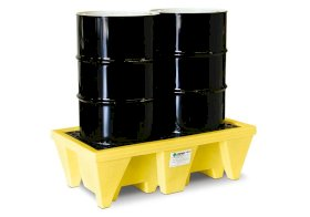 Spill Containment Pallet - Poly Construction - 2 Drums - 55-Gallon Drums - Fork Pockets - Yellow-w280px