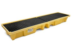 Spill Containment Pallet - Poly Construction - Low Profile - 4 Drum Capacity - Fork Pockets - Yellow-w280px
