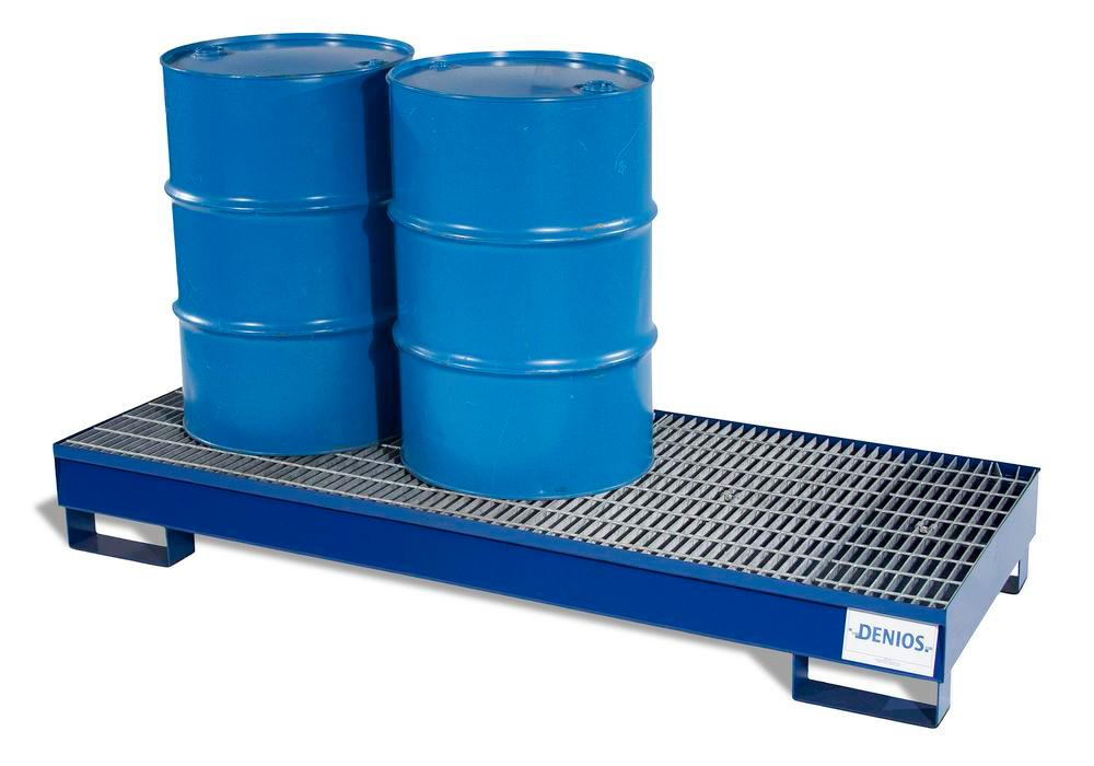 Spill Pallet - Painted Steel 3 Drum - w/ Grating