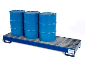 Spill Pallet - Painted Steel 4 Drum Inline - w/ Grating-w280px