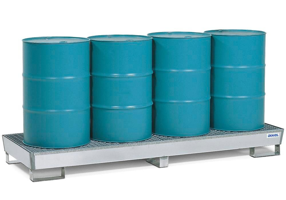Spill Pallet - Stainless Steel 4 Drum Inline - Stainless Steel Grating