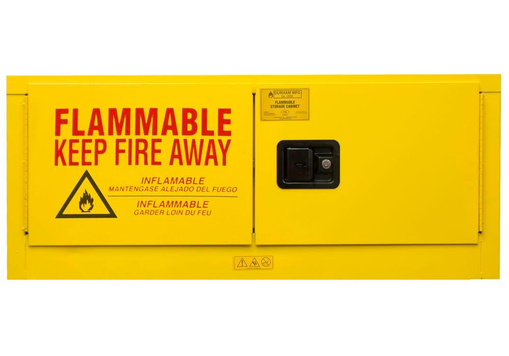 12 Gallon Flammable Safety Cabinet - FM Approved - Horizontal - Manual Closing - Countertop
