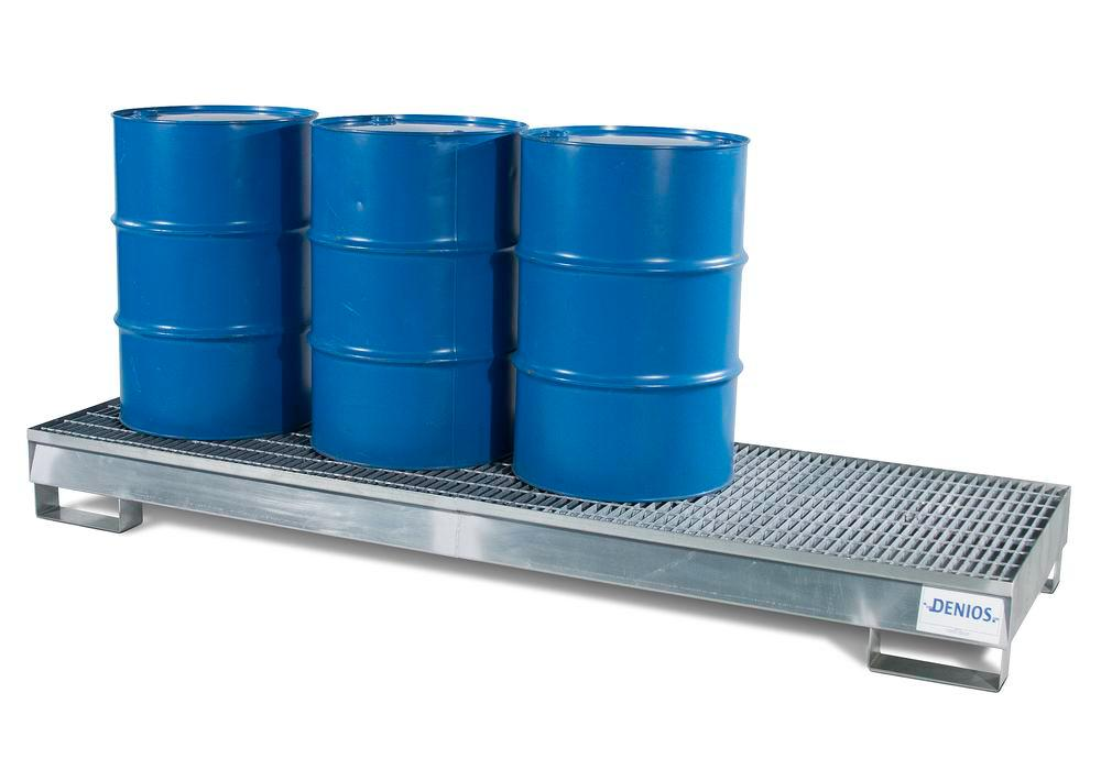 Spill Pallet - Galvanized Steel 4 Drum Inline - w/ Grating