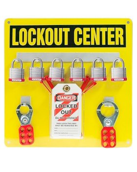 "Aluminum Hanger Board Lockout Center - 6-Padlock Board with kit - English - 14"" x 14"" - Yellow-w280px"